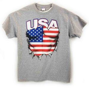 Jerzees Mens Gray USA Graphic XL Tshirt